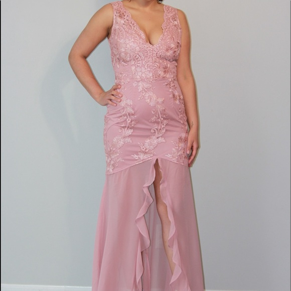 none Dresses | Floral Light Pink Evening Dress | Poshmark